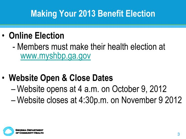 Making Your 2013 Benefit Election
