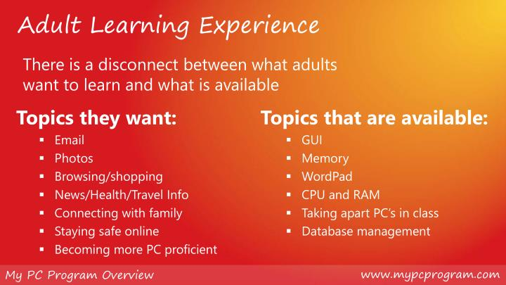 Adult Learning Experience