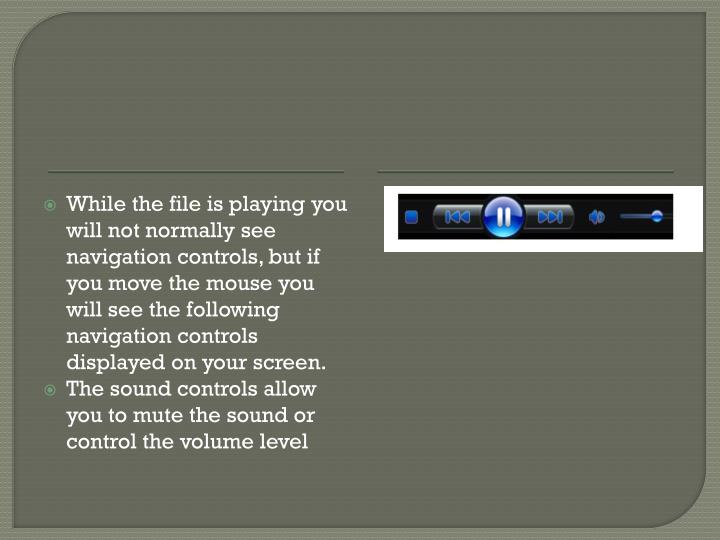 While the file is playing you will not normally see navigation controls, but if you move the mouse you will see the following navigation controls displayed on your screen.