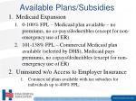 available plans subsidies