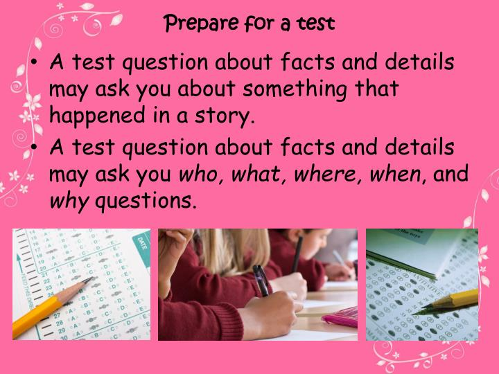 Prepare for a test