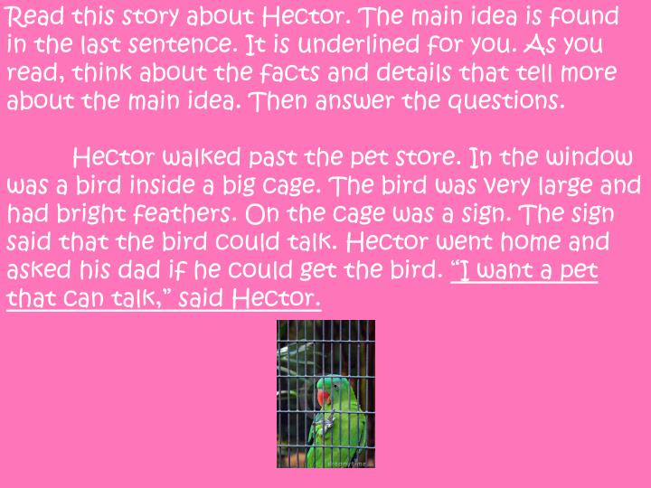 Read this story about Hector. The main idea is found in the last sentence. It is underlined for you. As you read, think about the facts and details that tell more about the main idea. Then answer the questions.