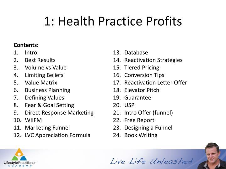 1: Health Practice Profits