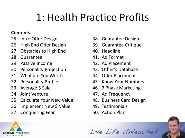 1: Health Practice Profits