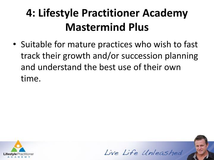 4: Lifestyle Practitioner Academy Mastermind Plus