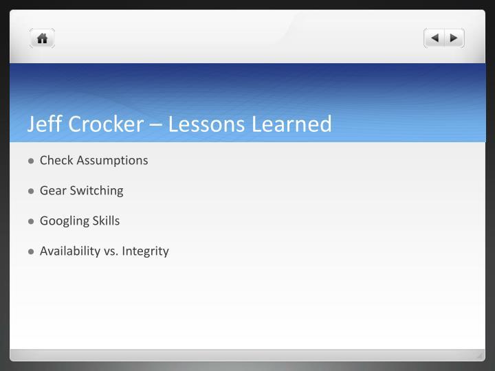 Jeff Crocker – Lessons Learned