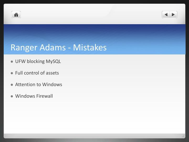 Ranger Adams - Mistakes