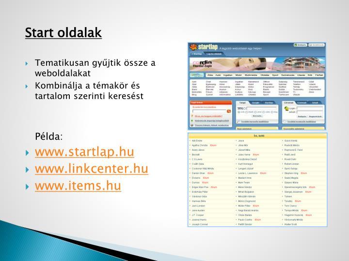 Start oldalak
