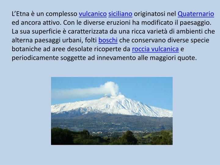 L'Etna è un complesso
