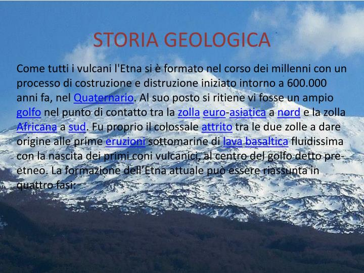 STORIA GEOLOGICA