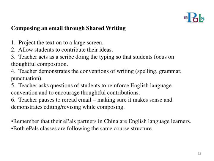 Composing an email through Shared Writing
