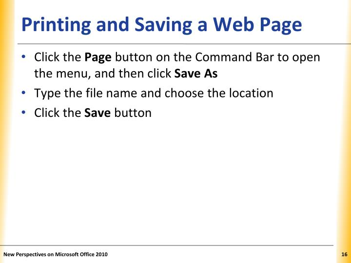 Printing and Saving a Web Page