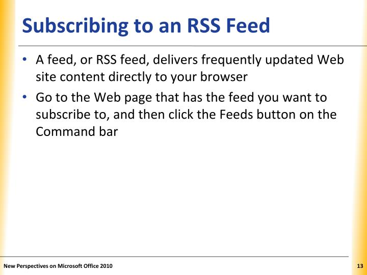 Subscribing to an RSS Feed