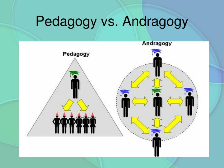 the difference between andragogy and pedagogy Introduction to andragogy + pedagogy  the sole difference is that children have fewer experiences and pre-established beliefs than adults and thus have less to.
