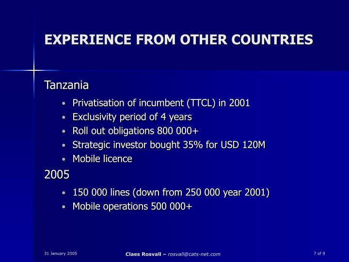 EXPERIENCE FROM OTHER COUNTRIES