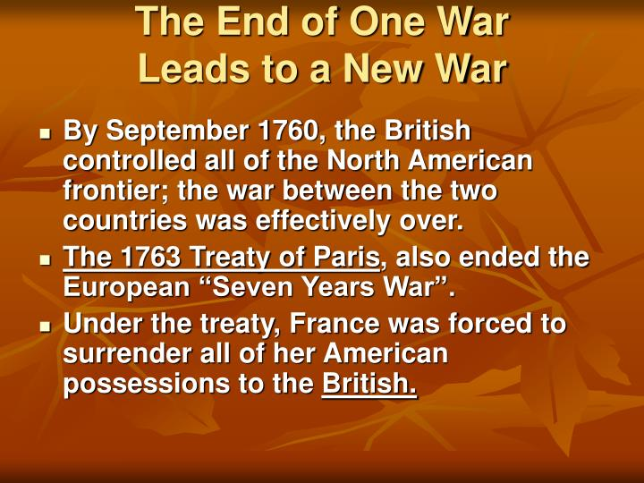 The End of One War