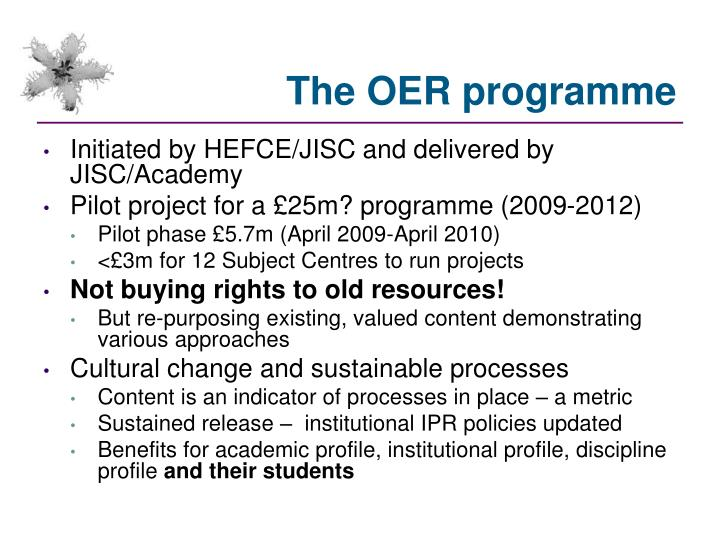 The OER programme