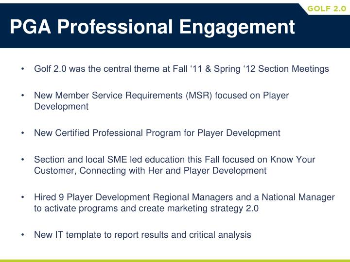 PGA Professional Engagement