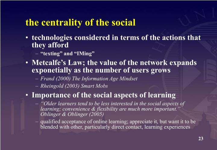 the centrality of the social