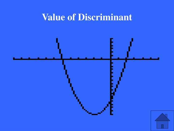 Value of Discriminant