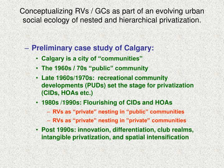 Conceptualizing RVs / GCs as part of an evolving urban social ecology of nested and hierarchical privatization.