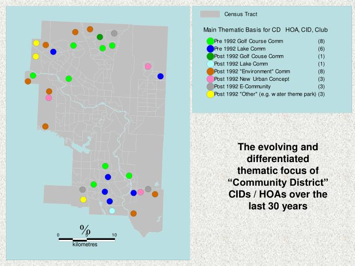 "The evolving and differentiated thematic focus of ""Community District"" CIDs / HOAs over the last 30 years"