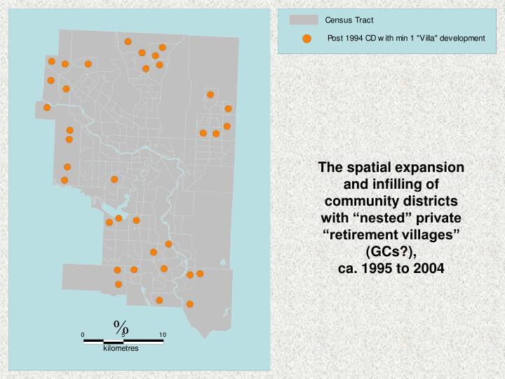 "The spatial expansion and infilling of community districts with ""nested"" private ""retirement villages"" (GCs?),"