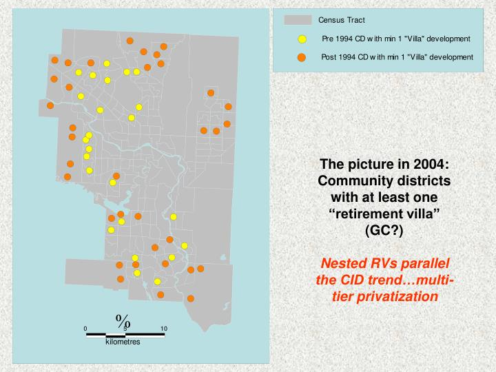 "The picture in 2004: Community districts with at least one ""retirement villa"" (GC?)"
