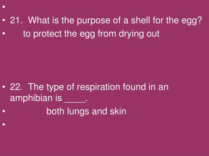 21.  What is the purpose of a shell for the egg?