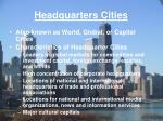 headquarters cities