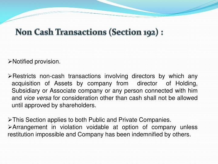 Non Cash Transactions (Section 192) :