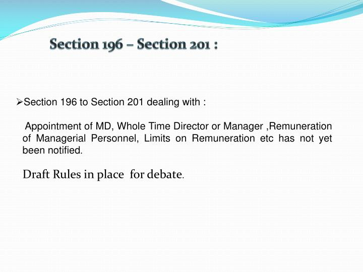 Section 196 – Section 201 :