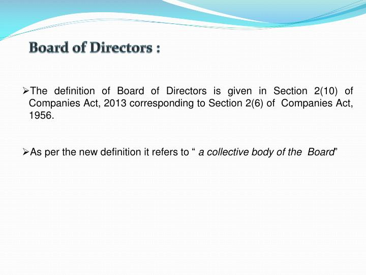 Board of Directors :