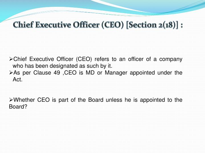 Chief Executive Officer (CEO) [Section 2(18)] :