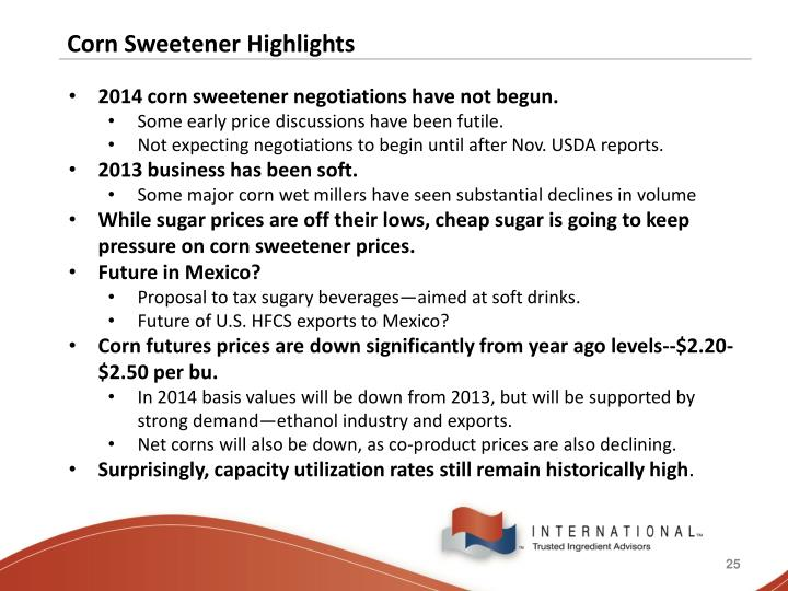 Corn Sweetener Highlights