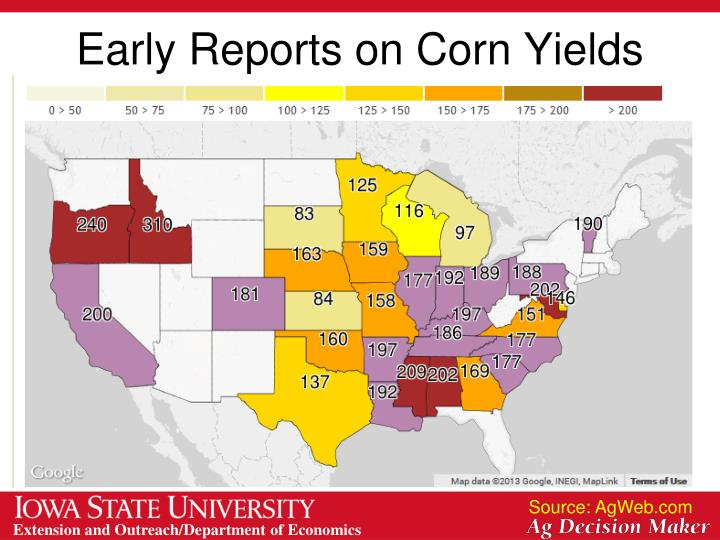 Early Reports on Corn Yields