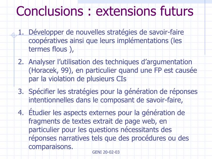Conclusions : extensions futurs