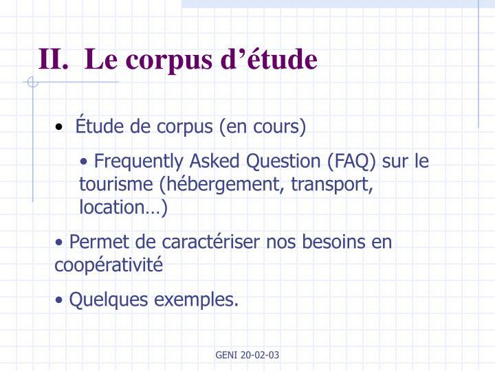 II.  Le corpus d'étude
