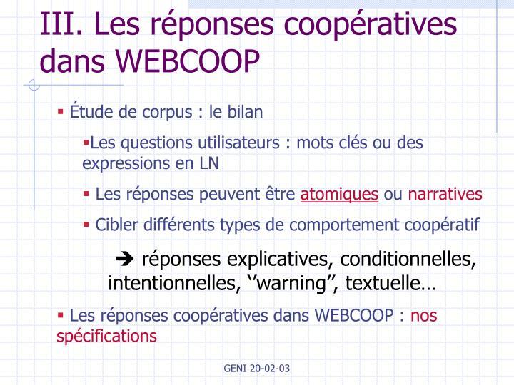 III. Les réponses coopératives dans WEBCOOP