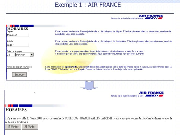 Exemple 1 : AIR FRANCE