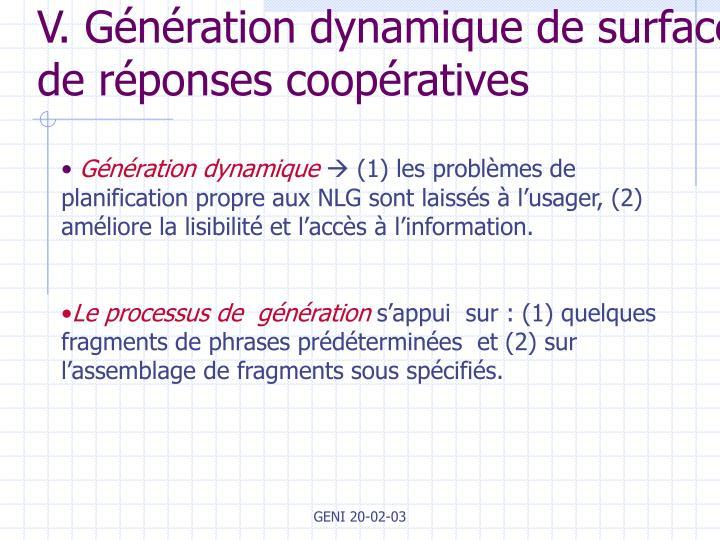 V. Génération dynamique de surface de réponses coopératives