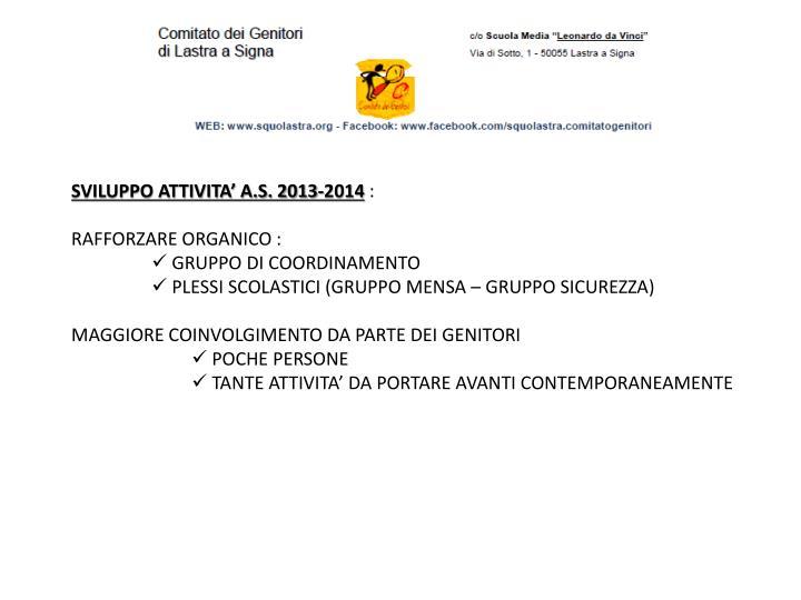SVILUPPO ATTIVITA' A.S. 2013-2014