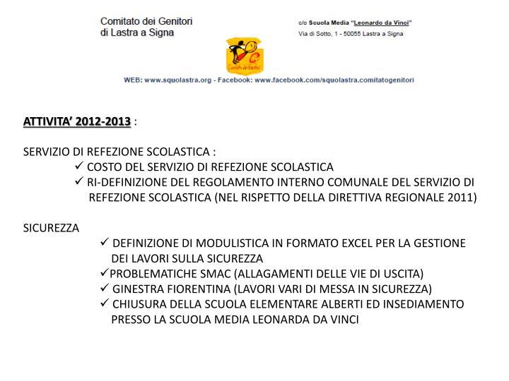 ATTIVITA' 2012-2013