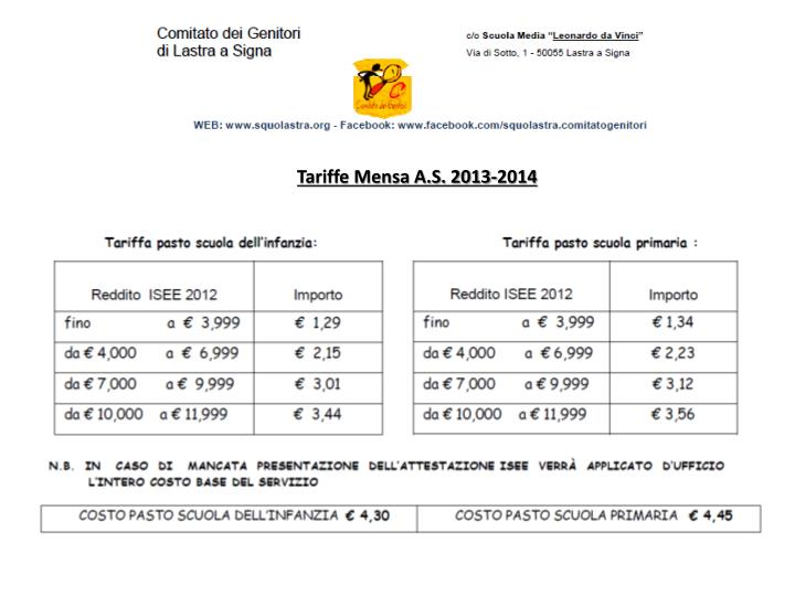 Tariffe Mensa A.S. 2013-2014