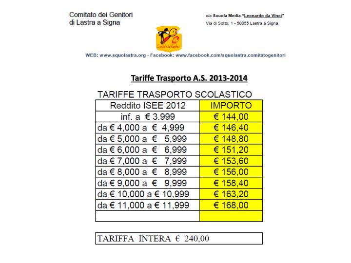 Tariffe Trasporto A.S. 2013-2014