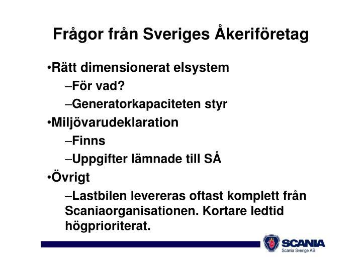 Frågor från Sveriges Åkeriföretag
