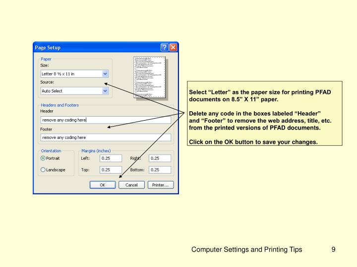 "Select ""Letter"" as the paper size for printing PFAD"
