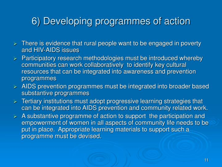 6) Developing programmes of action