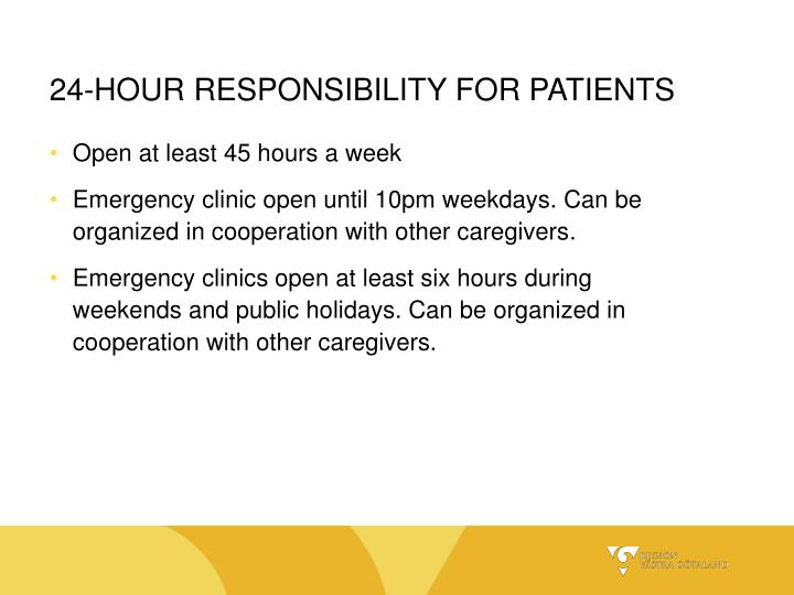 24-HOUR RESPONSIBILITY FOR PATIENTS