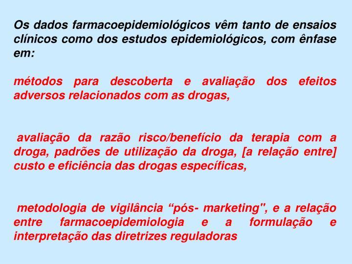 Os dados farmacoepidemiológicos vêm tanto de ensaios clínicos como dos estudos epidemiológicos, com ênfase em: